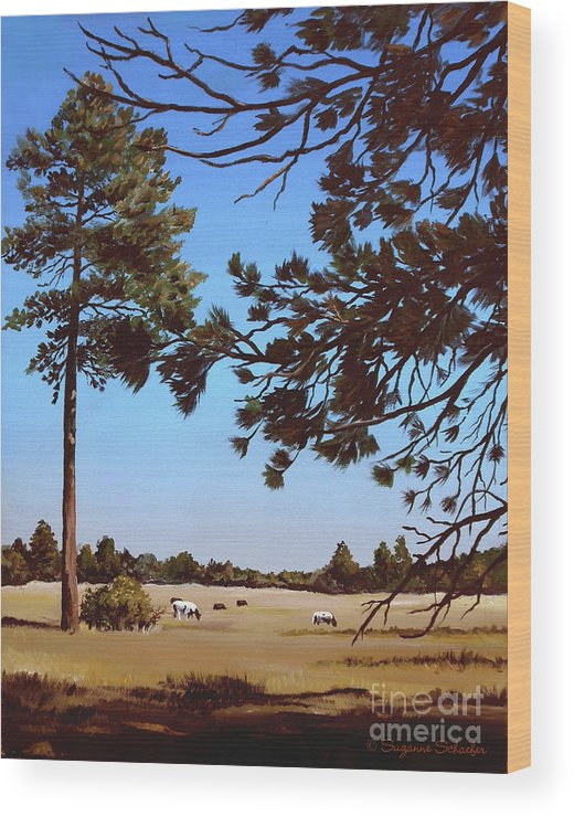 Scene Wood Print featuring the painting Summer Serenity by Suzanne Schaefer