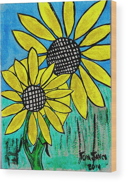 Sunflowers For Fun Wood Print featuring the photograph Sunflowers For Fun by Tom Janca
