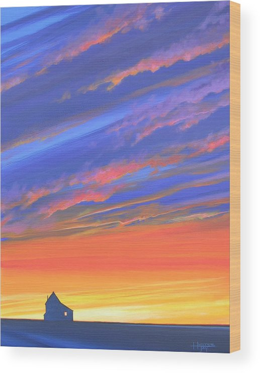 Sunset Wood Print featuring the painting The Aunt's House by Hunter Jay