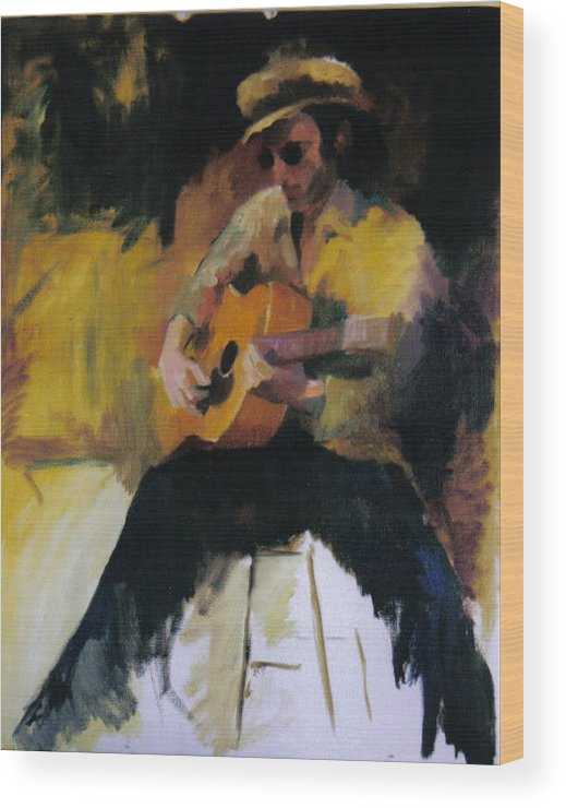 Man Wood Print featuring the painting The Blues Man by John L Campbell