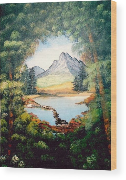 Landscape Wood Print featuring the painting The Lake Path by Sylviane Nuccio