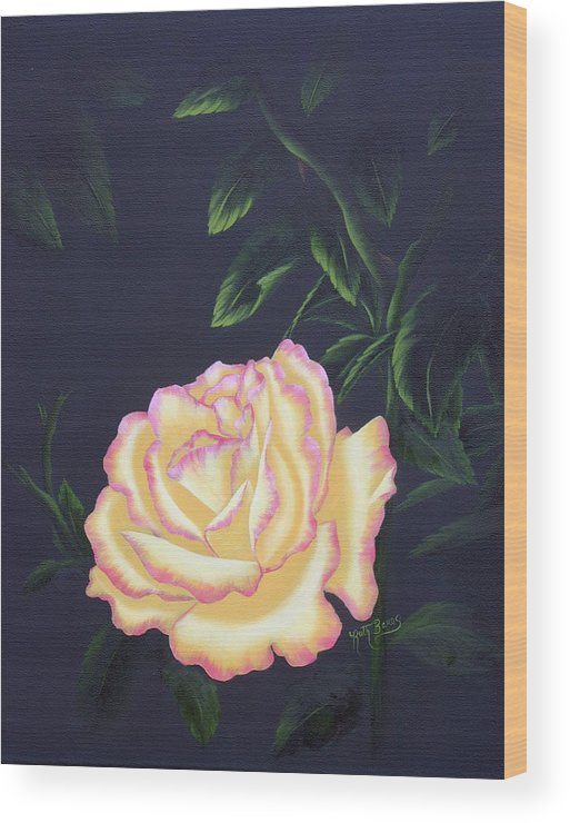 Rose Wood Print featuring the painting The Rose by Ruth Bares