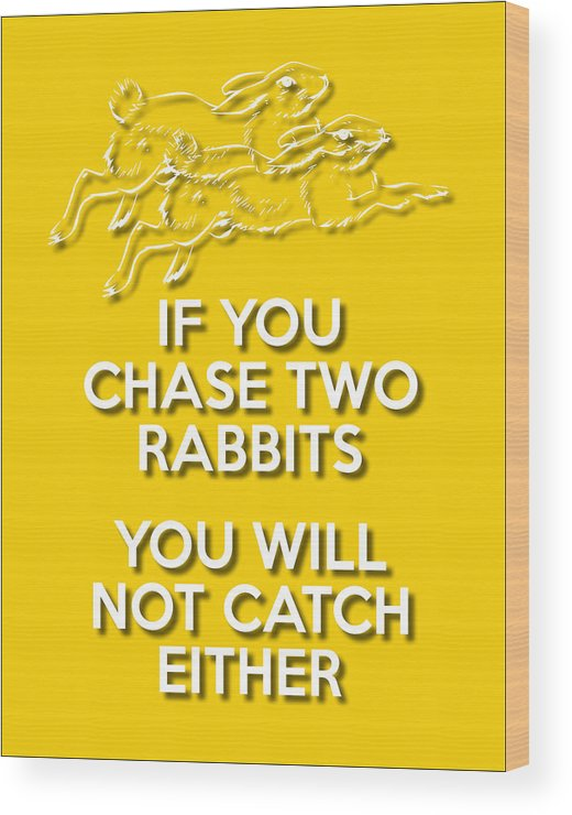 Wisdom Wood Print featuring the digital art Two Rabbits Yellow by Splendid Notion Series