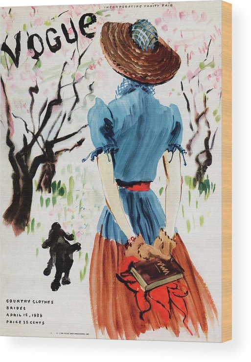 Illustration Wood Print featuring the photograph Vogue Cover Illustration Of A Woman Walking by Rene Bouet-Willaumez