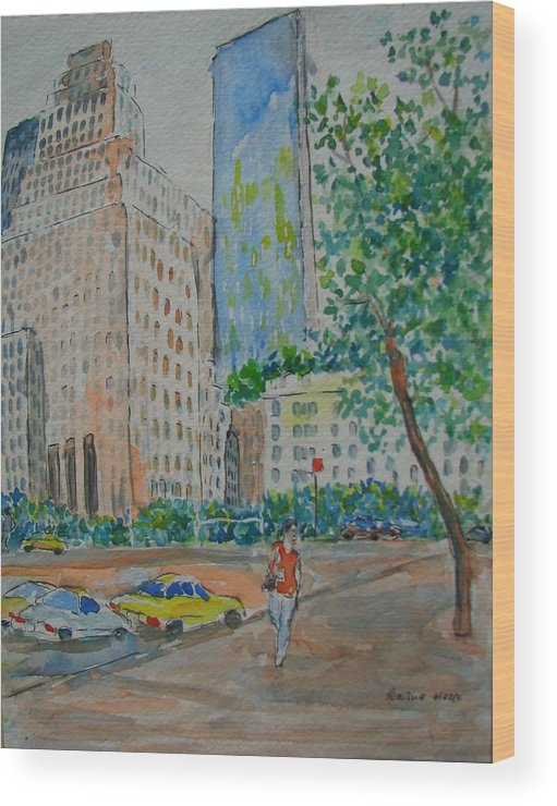 New York Wood Print featuring the painting Ny Near The Plaza by Lucille Femine