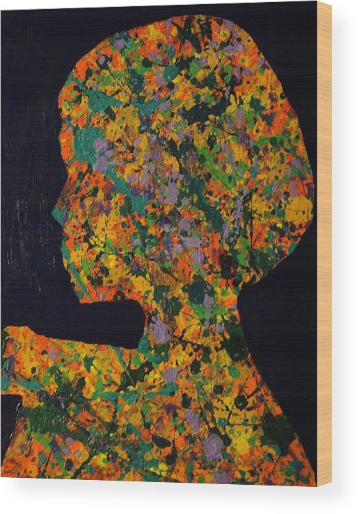 Girl Wood Print featuring the painting What Is Inside? by Mark Thompson Jr