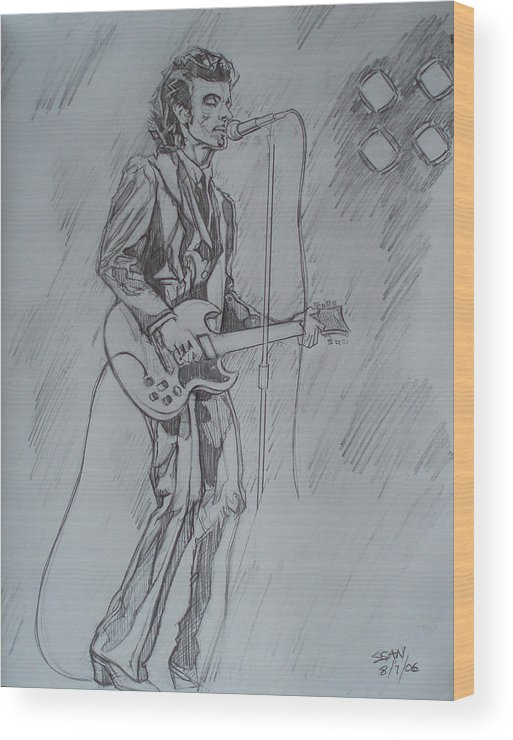 Pencil Wood Print featuring the drawing Willy Deville - Steady Drivin' Man by Sean Connolly