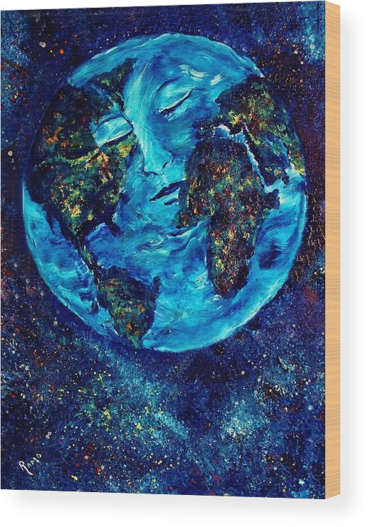 World Wood Print featuring the painting World Peace by Robin Monroe