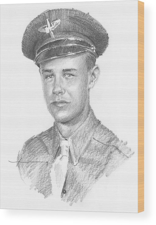 Www.miketheuer.com Wwii Military Dad Pencil Portrait Wood Print featuring the drawing Wwii Military Dad Pencil Portrait by Mike Theuer
