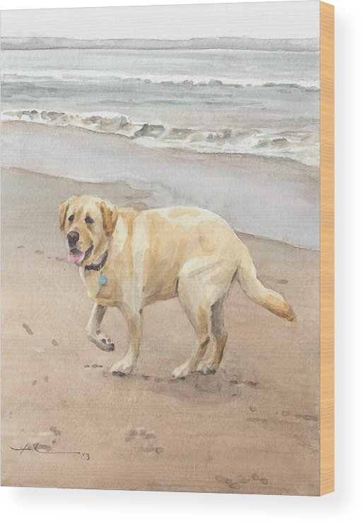 Www.miketheuer.com Yellow Lab On Beach Watercolor Portrait Wood Print featuring the drawing Yellow Lab On Beach Watercolor Portrait by Mike Theuer