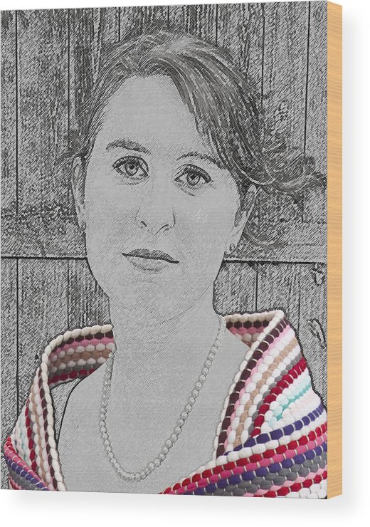 Young Wood Print featuring the photograph Young Lady With Multicolored Shawl by Paul Cannon