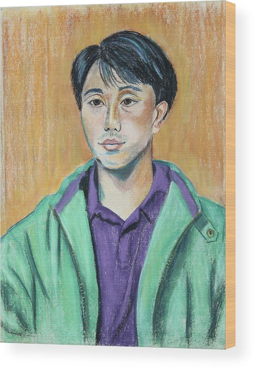 Pastel Portrait Painting Wood Print featuring the painting Young Man In A Green Jacket by Asha Carolyn Young