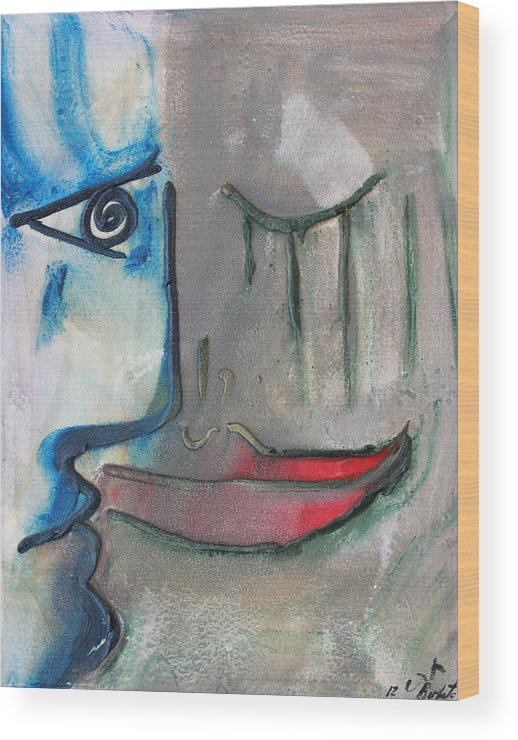 Love Blue Red Grey Faces Wood Print featuring the painting Dialogos 16 by Jorge Berlato