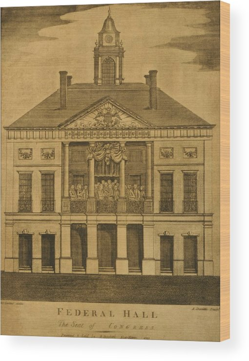 History Wood Print featuring the photograph George Washingtons First Inauguration by Everett