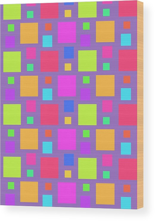 Multicoloured Squares Wood Print featuring the digital art Multicoloured Squares by Louisa Knight