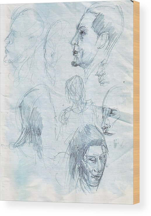 Pencil Wood Print featuring the drawing Quick Sketches by Kevin Russell