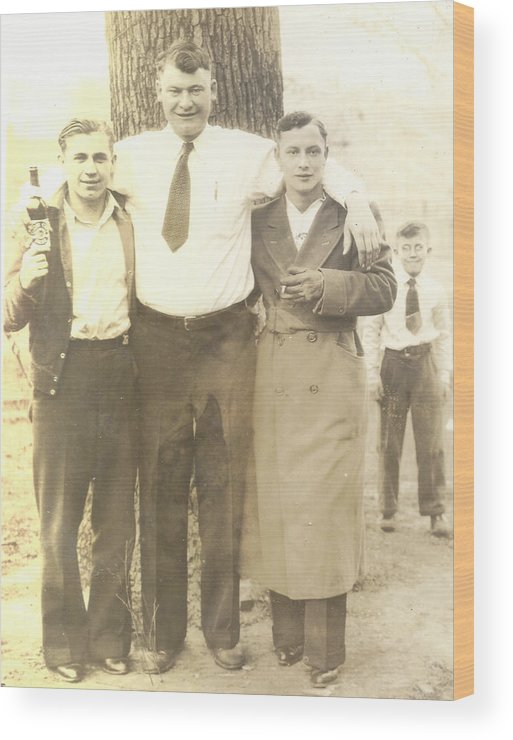 Digitized Wood Print featuring the photograph Vintage Men In Front Of Tree by Alan Espasandin