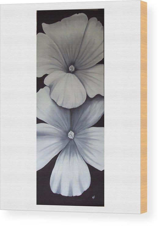 White Flowers Wood Print featuring the painting White Beauties by Debra CerboneSteiner