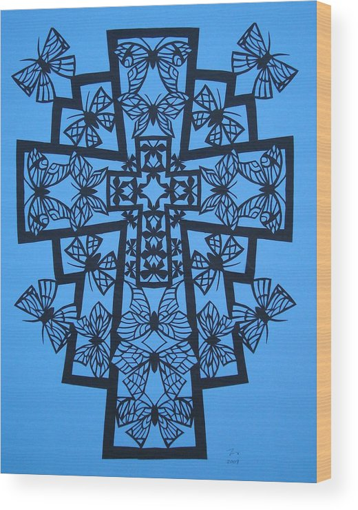 Beliefs Wood Print featuring the mixed media 001 Butterfly-cross by Tong Steinle