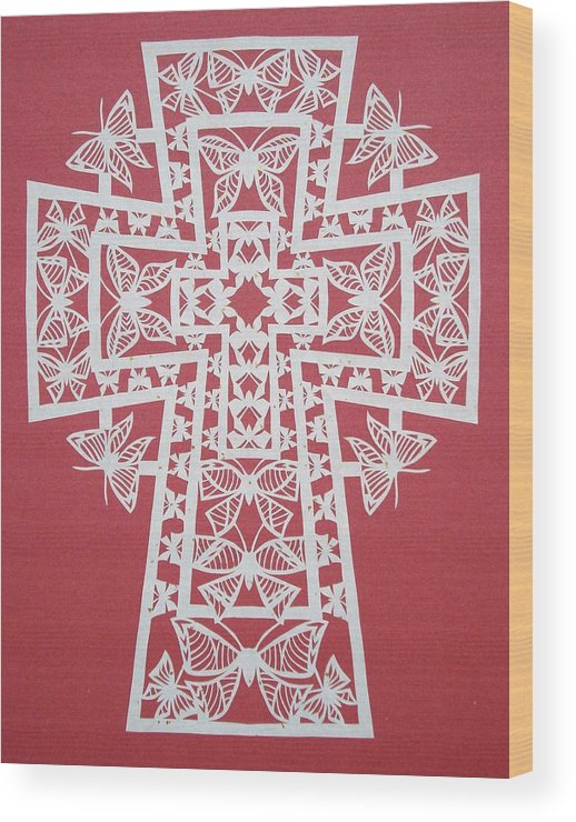 Beliefs Wood Print featuring the mixed media 005 Butterfly-cross by Tong Steinle