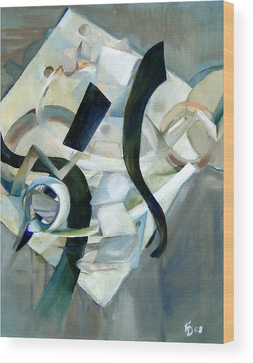 Gray Tonal Abstract Shapes Forms Modern Wood Print featuring the painting Abstract In Gray by Kathy Dueker