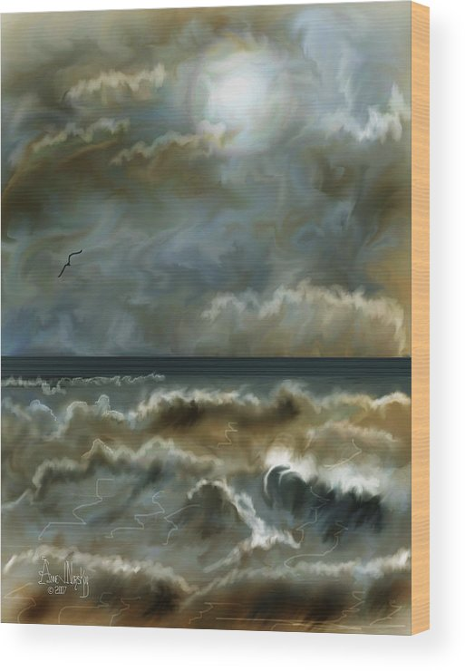 Seascape Wood Print featuring the painting After The Squall by Anne Norskog