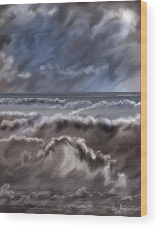 Seascape Wood Print featuring the painting Caramel Seas by Anne Norskog