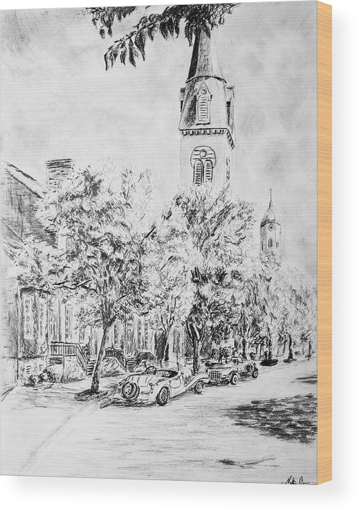 Pencil Wood Print featuring the drawing Downtown Fred by Nathan Barnes