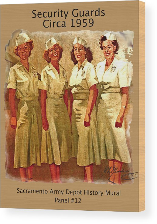 Female Security Guards Circa 1959 Wood Print featuring the painting Female Security Guards by Craig A Christiansen