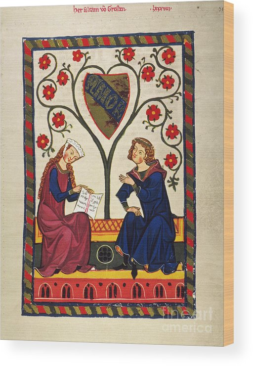 14th Century Wood Print featuring the photograph German Minnesinger 14th C by Granger