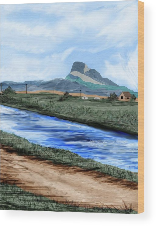Heart Mountain Wood Print featuring the painting Heart Mountain And The Canal by Anne Norskog