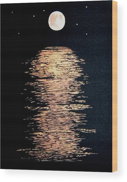 Moon River Stars Night Landscape Black Gold Copper Water Wood Print featuring the painting Moon River by Linda Powell