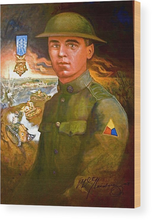 Portrait Of Corporal Harold W. Roberts Wood Print featuring the painting Portrait Of Corporal Roberts by Craig A Christiansen