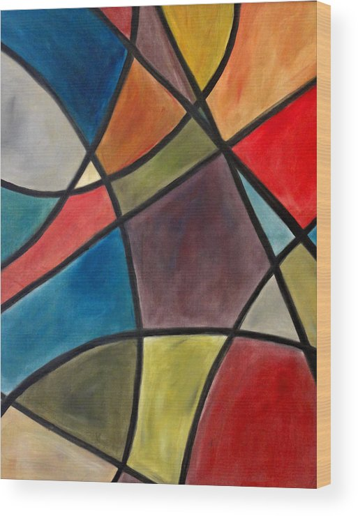 Colorfull Killian Stained Glass Art Lines Colors Wood Print featuring the painting Stained Glass by Jerry Killian