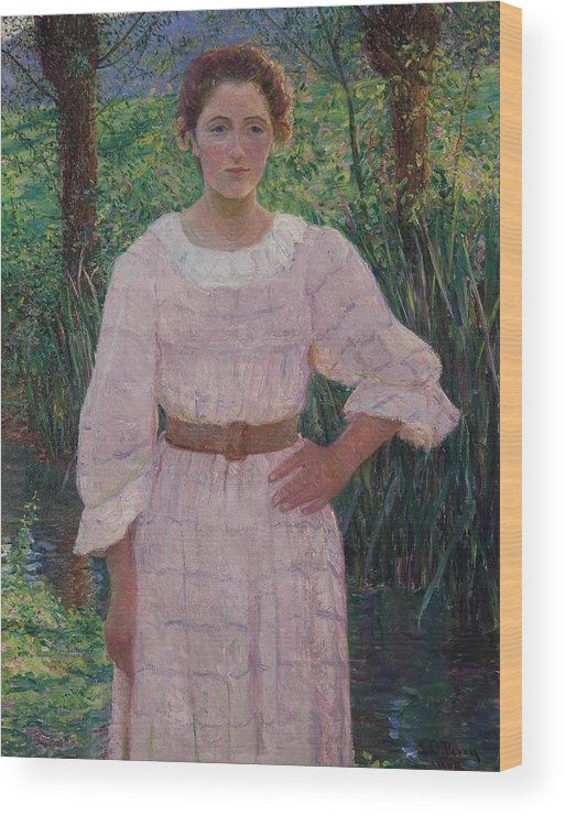 Lilla Cabot Perry () By The Brook Wood Print featuring the painting The Brook by MotionAge Designs