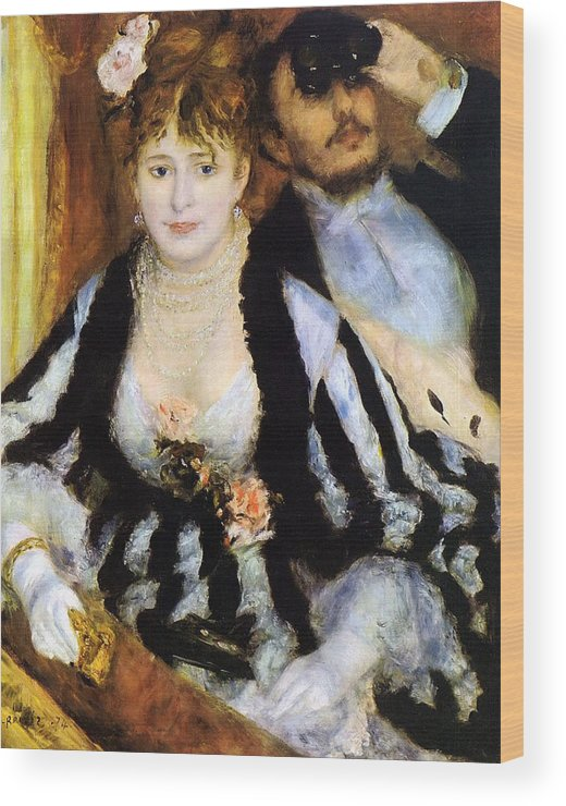 Couple Wood Print featuring the painting The Theater Box by Pierre-Auguste Renoir