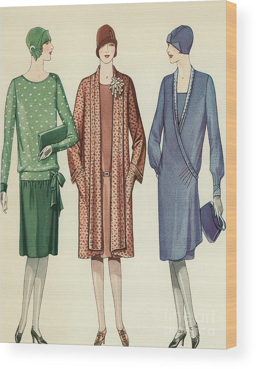 Flapper Wood Print featuring the painting Three Flappers Modelling French Designer Outfits, 1928 by American School