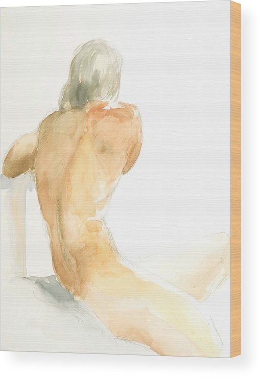 Nude Male Figure Wood Print featuring the painting Nude Series by Eugenia Picado
