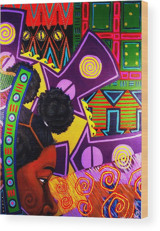 Africanamericanart Wood Print featuring the painting Aesthetic Ascension Series by Malik Seneferu