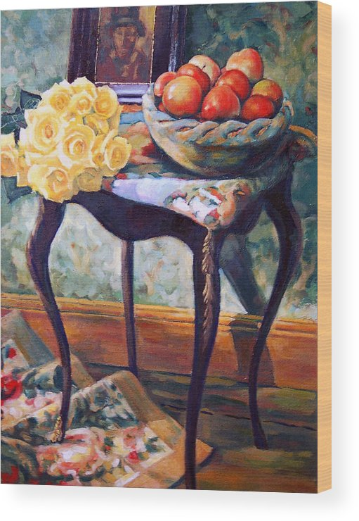 Still Life Wood Print featuring the painting Still Life With Roses by Iliyan Bozhanov