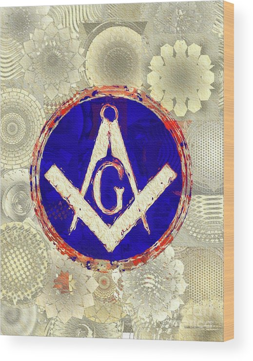 Freemason Wood Print featuring the painting Freemason, Masonic, Symbols 26 by Pierre Blanchard