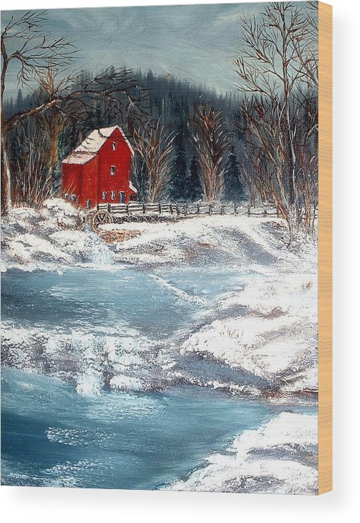 Landscape Mill Old Streem Creek Wood Print featuring the painting Old Mill by Kenneth LePoidevin