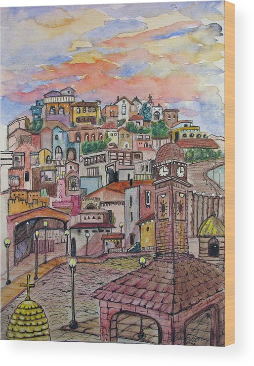 Townscape Wood Print featuring the painting A Little Town In France by Patricia Arroyo
