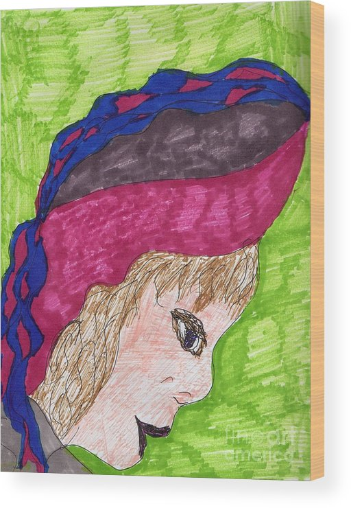 A Braided Hat Violet And Blue Profile Of A Lady Wood Print featuring the mixed media A Pretty Hat by Elinor Helen Rakowski