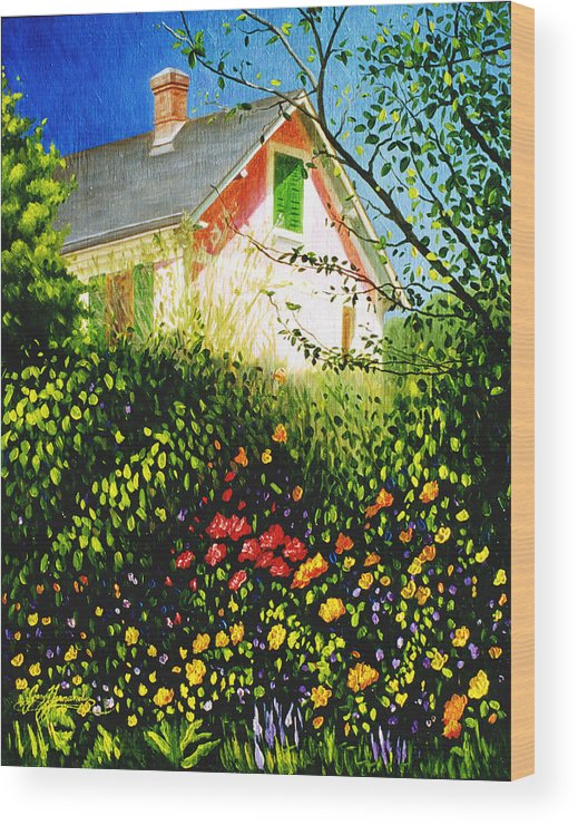 Monets House Wood Print featuring the painting A View Of Monets House In Giverny France by Gary Hernandez