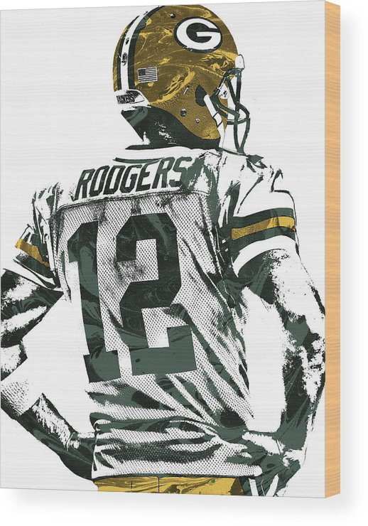 Aaron Rodgers Wood Print featuring the mixed media Aaron Rodgers Green Bay Packers Pixel Art 5 by Joe Hamilton