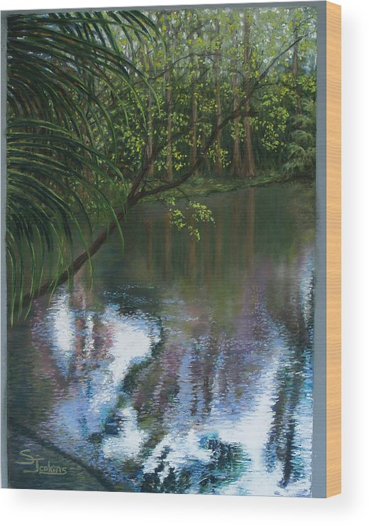 Landscape Wood Print featuring the painting Alafia River Reflection by Susan Jenkins