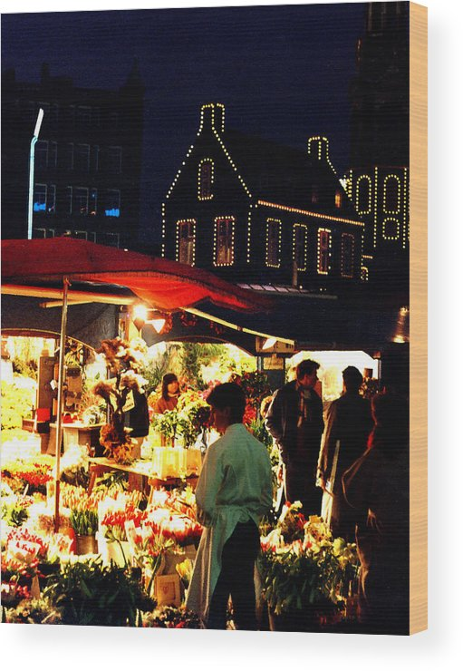 Flowers Wood Print featuring the photograph Amsterdam Flower Market by Nancy Mueller