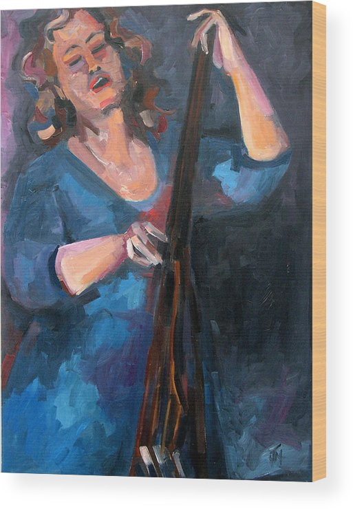 Blues Musician Wood Print featuring the painting Andrafaye by Jackie Merritt