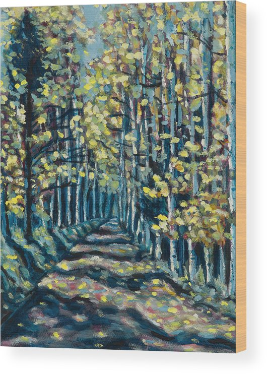 Landscape Wood Print featuring the painting Aspen Path by Steve Lawton